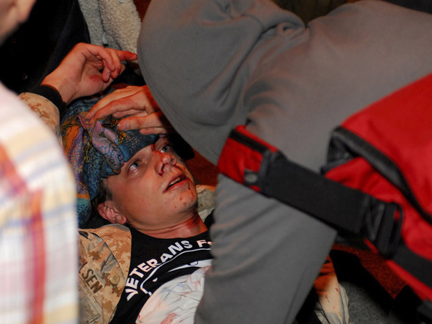 Wall Street Protesters Hold Vigils for Injured Vet
