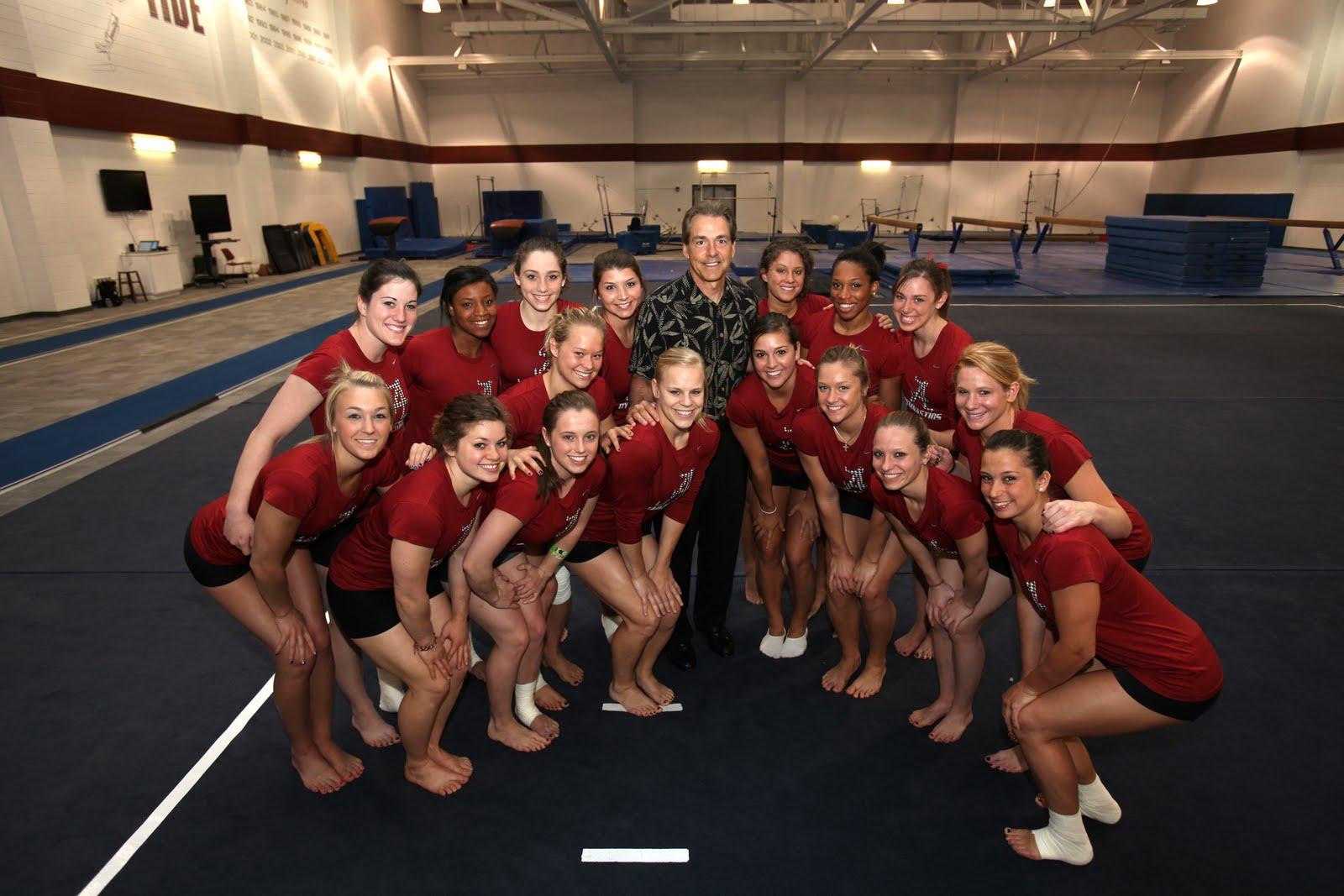 Nick Saban Visits the NCAA Regional Champion Alabama Gymnastics Team